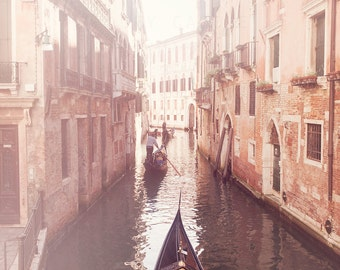 Venice Photograph, Gondola Wall Art Print, Italy Travel Photography, pink, red, white, gondolier, canals, home decor, fine art photo