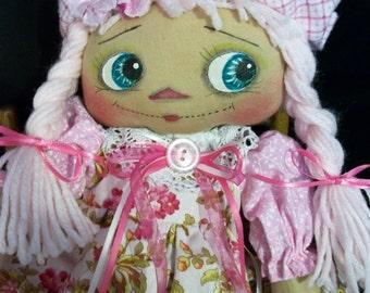 Primitive doll, Raggedy Annie, 17 in. hand made fabric doll by Dumplinragamuffin