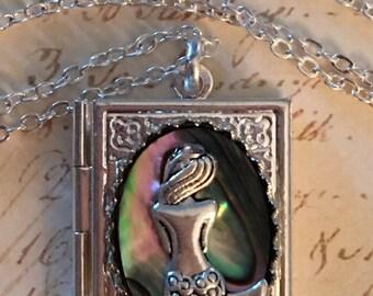 Mermaid Locket Necklace Silver Mermaid Jewelry Photo Locket, Locket Mermaid Necklace charm, gift for her