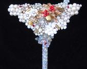 Vintage Jewelry Martini Glass - Jewelry Wall Art - Home Decor - Chilled Martini Glass