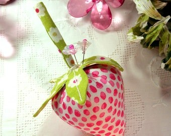 Pincushion The Big Strawberry, Pretty Pink Dots with Emery-  Ready to Ship