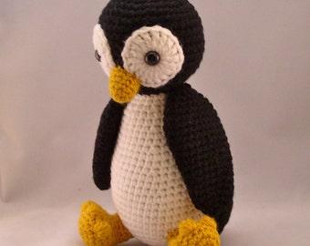 Baby Penguin Amigurumi Handmade Crochet Baby Penguin Toy Penguin Plushy Penguin Snuggly Black White and Gold