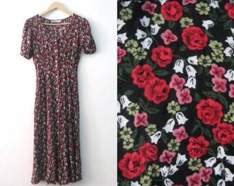 Vintage 80s Rose print dress / Valentines Sweetheart roses maxi dress / Romantic Boho dress