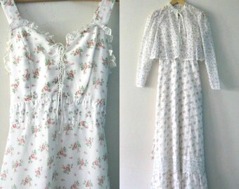 Vintage 70s Gunne Sax style prairie maxi dress / Country Hippie 70s rose print sundress