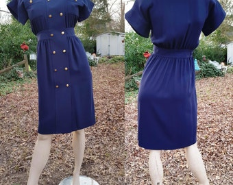 Sale 30% OFF 80s Dress, Designer Dress, Nautical Dress, Vintage Dress with a Nautical Flair by LeCrillon Paris in Navy Size 4 to Size 6