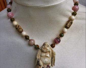 Beadart-Austria Design-Japanese Carved Netsuke Necklace, Mauretanian Gilt Silver