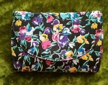 1980s Purse 80s Purse Cervelle Purse Shoulder Strap Purse Floral Purse Floral Clutch Shabby Chic Purse Black Yellow White Green Purple Teal
