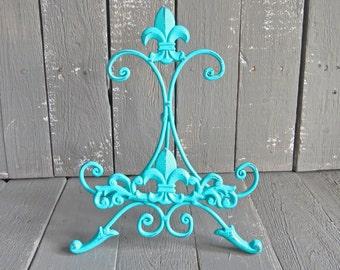 Turquoise Blue Easel, Metal Easel, Book Stand, Art Prop, Shabby Cottage Chic, Fleur De Lis, Parisian Chic, French Country, Paris Apartment