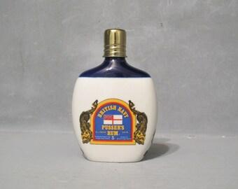 Vintage British Navy Pusser's Rum Bottle / Hand Cast Porcelain Hip Flask, Collectors Cork Top Liquor Bottle Bar Decor Decanter Screw on Cap