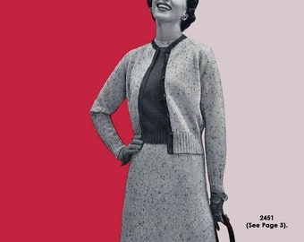 Bear Brand #347 c.1954 Fifties Hand Knitting Patterns for Sweaters, Cardigans, Dresses and Suits (PDF EBook Digital Download) Plus FREE Book