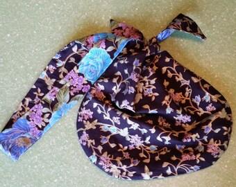 Blue rose purse, handbag, hobo bag, reversible