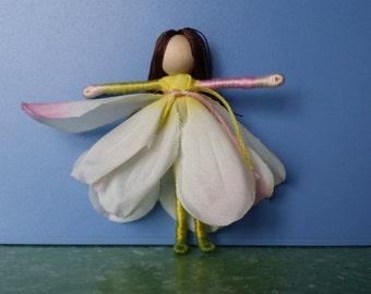White Flower Fairy, Waldorf Doll, Garden Fairy,  Art Doll, Worry Doll, Faery,