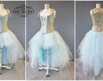 tulle skirt-plus size-cosplay cinderella-steampunk-masquerade-blue tulle skirt-bridesmaid-wedding-fantasy-alternative-the secret boutique