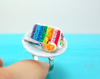 Rainbow Jewelry // Rainbow Cake Ring // Adjustable Ring MADE TO ORDER
