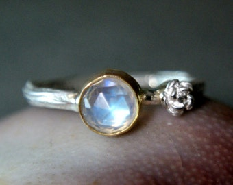 Moonstone Twig Ring, 14k Gold Two Tone Jewelry, Sterling Silver Faceted Rainbow Moonstone Ring, Custom Jewerly