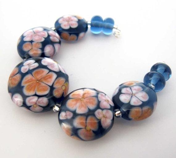 Blue Floral Lampwork Glass Bead Set