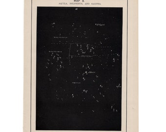 1891 ANTIQUE STAR MAP lithograph aquila delphinus & sagitta constellation original antique celestial star map astronomy print