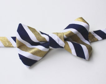 Little and Big Guy Bow Tie Bowtie - Navy and Gold Stripe - (Newborn-Adult) - (Made to Order) Fall Holiday Christmas