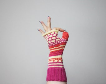 Merino wool fingerless, colorful arm warmers, exciting tennagers fingerless, Christmas gift