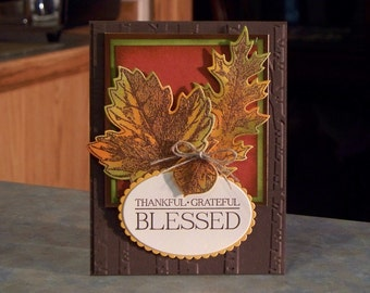 """Handmade Stampin' Up Thanksgiving Card - 5 1/2"""" x 4 1/4"""" - Copper Embossed Vintage Leaves - Thankful - Grateful - Blessed"""