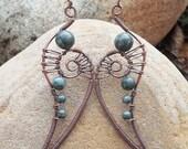 Bohemian tribal earrings bohemian earrings boho statement earrings Kambaba jasper earrings wire wrapped jewelry boho jewelry funky earrings