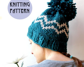 Knit Hat Pattern, Hat Knitting Pattern, Knit Hat DIY, Knitted Hat, Toque Pattern, Pom Pom Hat Pattern, Knitting Pattern, Winter Hat Knit