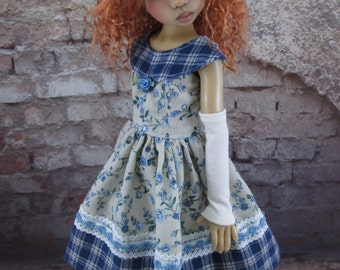 Blue Floral Dress and Hat Set for MSD BJD, Kaye Wiggs Layla, Hope, Nyssa, and others.