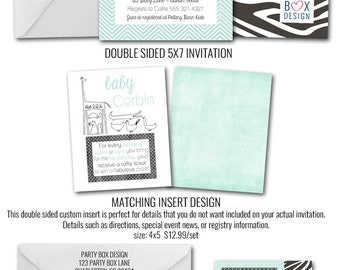 Zoo Baby Shower Invitation Suite (24 printed invites AND inserts)