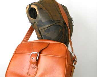 Vintage Brown Carry On • 1970s Tote Bag • Overnight Bag Brown