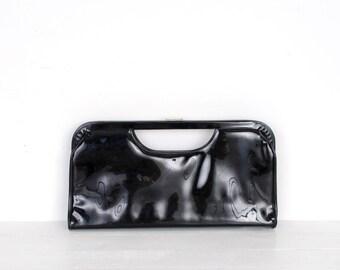 Vintage 1960s Purse / 60s Oversized Patent Leather Clutch / Black