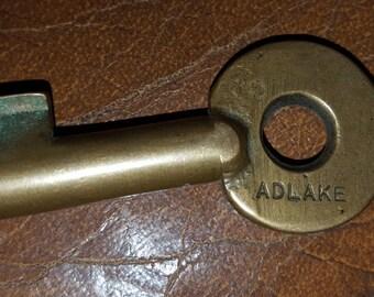 Antique Brass ADLAKE Willamette & Pacific Rail Road Key W.P.R.R. Steampunk