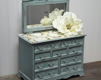Jewelry Box Shabby chic jewelry box dresser with mirror hand painted in Cottage Blue