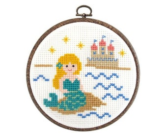 Japanese Cross Stitch Kit Tutorial, Fairy Tale, Little Mermaid, Beginner Embroider, Hand Embroidery Kit, Cute Embroidery Wall Art, EK027