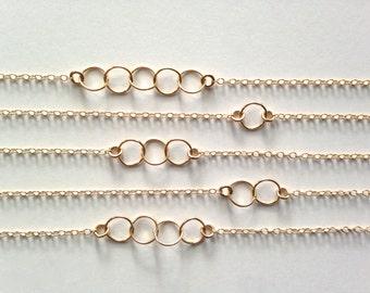 Multi Loop 14K Necklace, Gold Interlocking Circles, Symbolic Family Necklace, Multiple Circles, Gold Circle Necklace, Three Loops, TN289