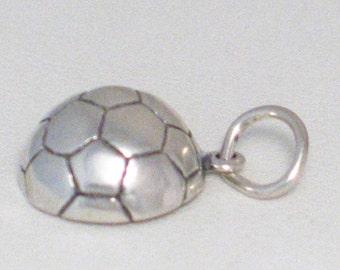 Single Sterling silver 2-D high profile honeycomb design soccer ball game fan high school team sport theme bracelet charm / necklace pendant