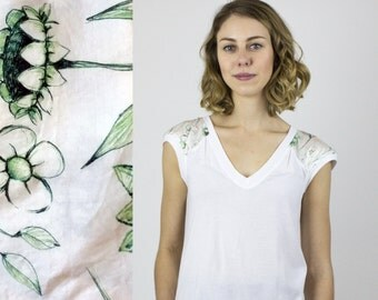 Cute Floral White t-shirt / Bamboo Feather Jersey tee & Silk hand drawn floral - Summer tee