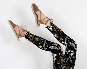 Desert Floral Leggings in Blue Mint, Pale Pink and Yellow Ochre on Black