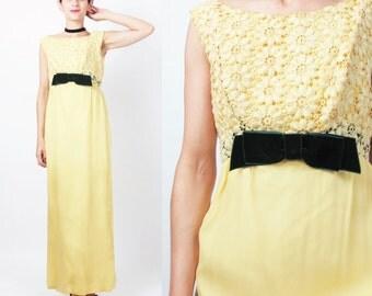 40% OFF SALE 1960s Yellow Lace Dress Vintage 60s Empire Waist Dress Crochet Velvet Bow Bridesmaid Dress Maxi Evening Gown Formal Dress E716