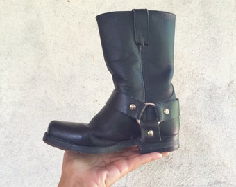 Vintage Double H Boy's size 13 Made in USA black leather harness boots, vintage child's black square toe cowboy boot, Boy's campus boot