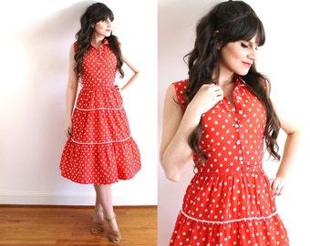 1940s Dress / 40s Red Polka Dot Dress