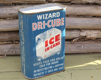 Vintage Wizard Tin, DRI-CUBE Ice in a Can, Country Store Decor, Garage Decor, Industrial Can