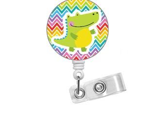 "Colorful Crocodile 1.5"" Badge Holder - Veterinarian Badge  - PICU Nurse  Badge - Teacher Badge Reel - Zoo Badge - Nurse Badge - RN Gift"
