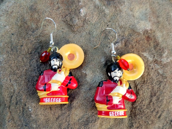 The Beatles Yellow Submarine George Charm Earrings Style 1 Altered Art John Lennon Ringo Starr Paul McCartney George Harrison