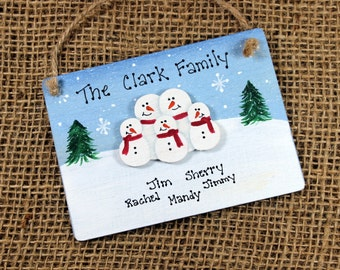 Personalized Snowman Family Ornament~Handpainted~Wood~Christmas~Custom~Keepsake