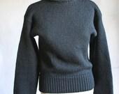 Classic Vintage Black Wool Turtleneck Sweater