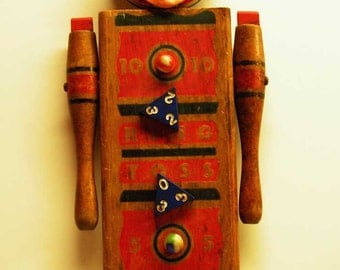 Assemblage Art Doll Mixed Media Wooden Game board