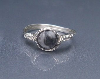 Silver Crazy Lace Agate Argentium Sterling Silver Wire Wrapped Ring