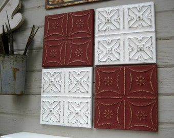 "Tin ceiling tile SET  12"" x 12"" framed tiles.  Antique Architectural salvage.  Red and White FRAMED Metal Wall Art. 10th Anniversary."