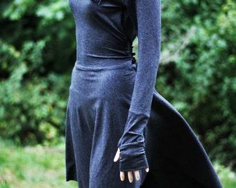 Black Dress / Oversized cowl neck zipper Dress / Little Black Dress / Dress / Party Dress