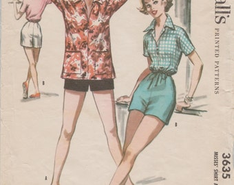 Vintage 50s Sewing Pattern from McCalls 3635 // Shorts Blouse Shirt // Size 12